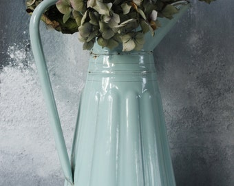 """Vintage French Enamel Pitcher in Robins Egg Blue...LARGE height 15""""....Shabby Chic...Rustic Kitchen....Nordic Style"""
