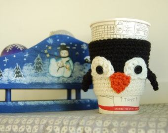 Penguin Coffee Cozy, Cute Penguin Ceocheted, Winter Themed Cozy, Animal Coffee Cozy, Penguin Cozies, Penguins for Cup, Crochet Penguins
