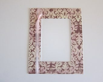 Pink Damask Matte, Victorian Pink Matte, Pink Damask Decor, Pink and Brown Decor, 8x10 Pink Matte, 5x7 Pink Photo Matte, Mattes in Pink