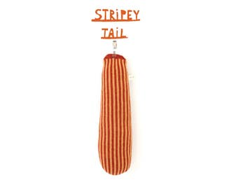 Stripey Tail - Animal Clip-on Tail, soft knitted tail, pretend tail, costume tail