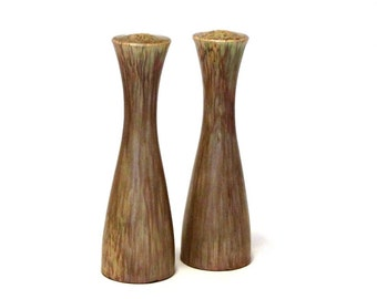 Mid Century Danish Modern Tall Ceramic Salt and Pepper Shakers Unique Faux Wood Matte Glaze