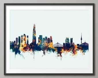 Seoul Skyline, Seoul South Korea Cityscape, Art Print (2716)
