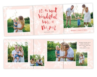 INSTANT DOWNLOAD - 5x5 Christmas Accordion Card Photoshop Template - E1416