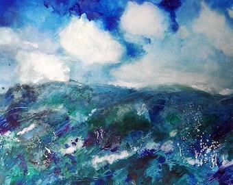 Stormy Sea A3 original ink drawing