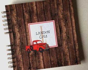 Baby Book |  Baby Memory Album | Rustic Wooden Vintage Truck Personalized Wire Bound Baby Memory Book Keepsake Album