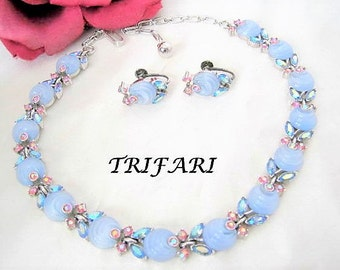 Trifari Blue Choker Set - Baby Blue Shoebutton - Vintage AB Rhinestone - 50's Choker and Earrings
