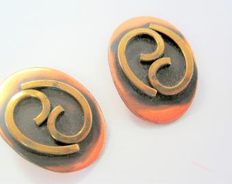 Mid Century Modernist Earrings -  Mixed Metal - Brass Copper - Vintage Clip Ons