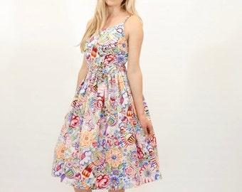 25% OFF SALE 50's Fit and Flare Dress, Summer Print Dress, Custom Made Dress, Cotton Dress