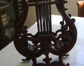 Red Cast Iron Lyre Music Holder Victorian