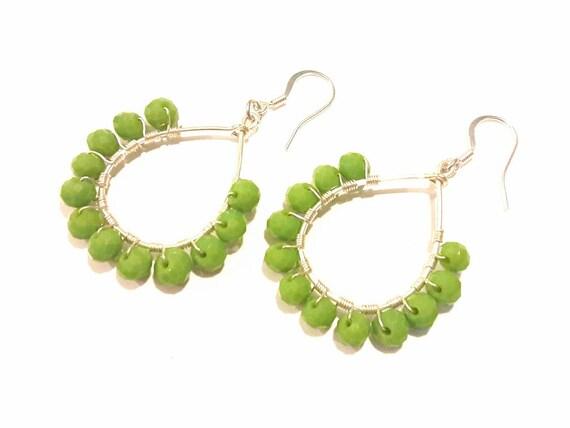 Green Apple Teardrop Earrings, Hoops, Silver Wire Wrapped