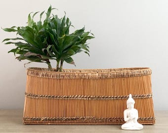 Large Vintage Basket Planter Rectangular Oval Hand Woven Rattan Window Box Primitive Tribal Boho Jungalow Decor