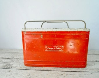 Vintage 1950s Cooler Chest Kwik-Way Camp Cooler With Galvanized Metal Interior