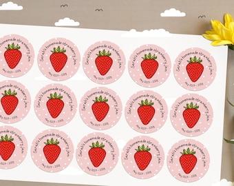 15 x Custom Strawberry Jam canning jar labels, glass Jam jar label, personalised Jam sticker label, personalised Fruit Jam bottle labels