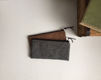 Zipper Pouch, Gray and Brown Linen Fabric, Pencil Case, Linen Zipper Bag, Men's Pouch, Back to School