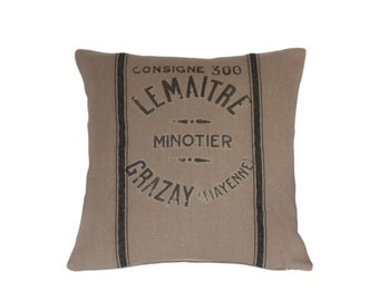 Industrial French Grain Sack Pillow Le Maitre
