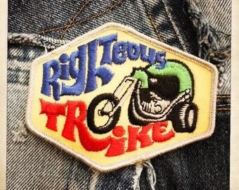 RIGHTEOUS TRIKE Patch Authentic Vintage 60s 70s Hippy Hippie Boho Bike Biker