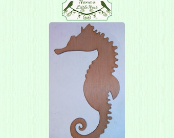Cute Solid Seahorse-  (Large ) Wood Cut Out -  Laser Cut
