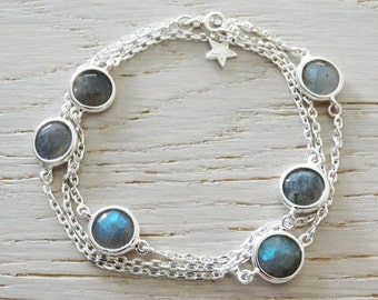 Silver Wrap Bracelet Or Necklace With Labradorite & Star - Sterling Silver