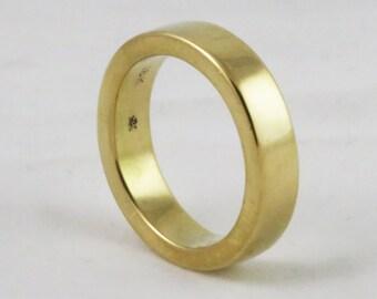 Heavy 5mm x 2.5mm Flat Edge Wedding Band / Stacking Heavy Gold Ring / Flat Edge Thick Band / solid 14k 18k 22k