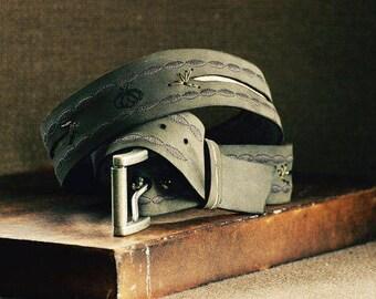 Simple Fly Chic Leather Belt, Dark Grey Women's Leather Belt, Genuine Leather Belts, Boho Leather Belt, Boutique Women's Belt, Gypsy Style