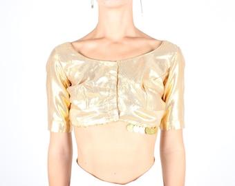 SALE - 90s Gold Lame Indian Metallic Sari Costume Cropped Tee / Crop Top