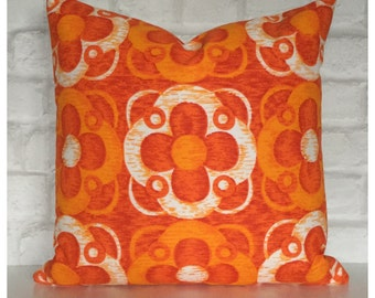 "Cushion Cover Vintage 60s 70s Orange Psychedelic  Fabric 16"" x 16"" Retro Throw Pillow"