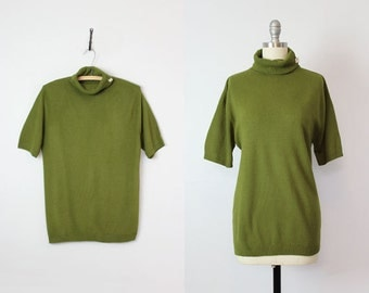 vintage deadstock 50s sweater / 1950s olive green sweater / long turtleneck sweater / short sleeve lightweight sweater / minimalist sweater