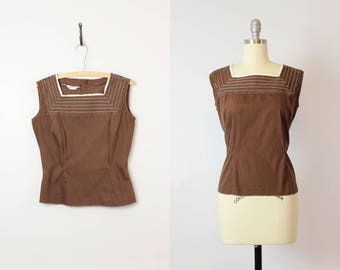 vintage 50s cotton blouse / 1950s brown and white blouse / sleeveless eyelet cotton top / Judy Bond summer top