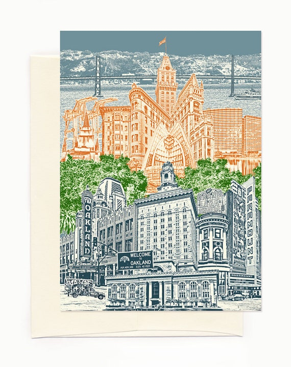 Oakland, California Notecard - Cityscape - folded Greeting Card - full color - Single or Set