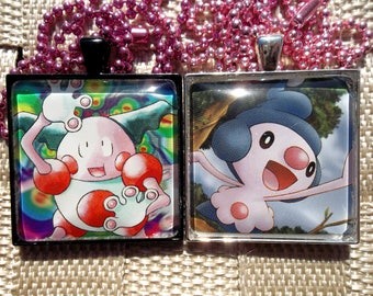 Mr. Mime and Mime Jr Pendant Charm made from trading Cards