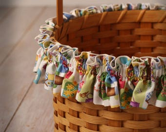XL Easter Basket Garter, Easter Print, Bunnies, Easter Chicks and Easter Eggs