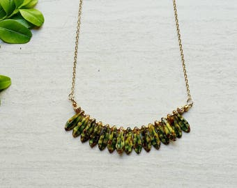 Olive Green Bib Necklace / Czech Glass Boho Necklace - Ready to Ship Jewelry (K)