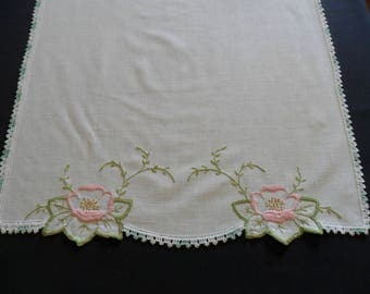 """Vintage Dresser Scarf, 17"""" X 42"""" hand embroidered with hand crocheted lace edging. shabby chic"""