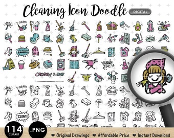 DIGITAL CLIPART House Cleaning Chores Clean Doodle. Daily Life. Downloadable. Great for making Planner Stickers. Life Planner. Erin Condren.