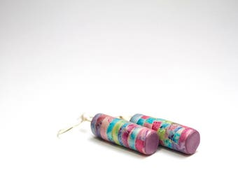 long pastel tube earrings, cylinder rainbow dangles, spring, summer casual earrings, polymer clay mosaic, cute earrings, gift for teenager