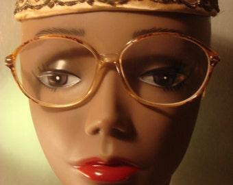 Vintage 1980's Thin Oval Tortoise Wire Frame  Eyewear
