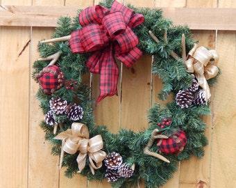 Winter Wreath, Christmas Wreath, Holiday Wreath, Antlers and Pinecone Rustic Wreath, Seasonal Wreath- Ready To Ship