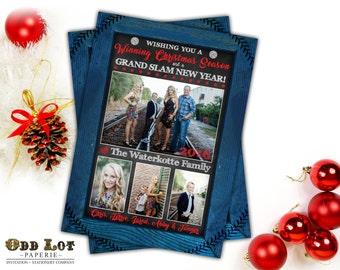 Printable Christmas Cards, Baseball Themed Christmas Card,  Photo Christmas Cards, Chalkboard, Sport Team, DIY Rustic Digital Holiday Card