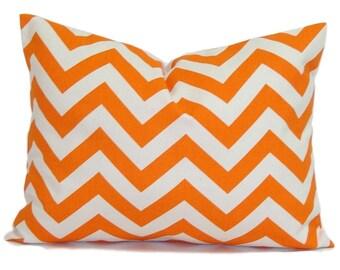 PILLOW.ORANGE PILLOW.16x20 16x24 or 12x20 inch.Pillow Cover.Decorative Pillows.Toss Pillow. Throw Pillow.Chevron.ZigZag.Orange Cushion.Cm