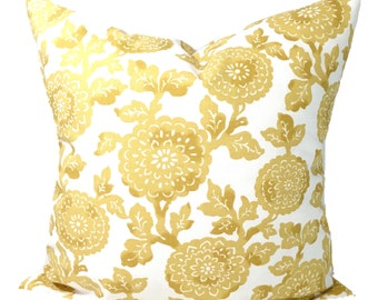 GOLD PILLOWS,Pillow Cover, Decorative Pillow, Throw Pillow, Floral Pillow, Flower Accent Pillow, Pillow Cover, All Sizes, Gold Euro, Cushion