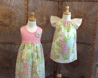 SiSTER SET ....girls tank style dress with coordinating flutter sleeve dress in Heather Bailey's Picnic Boquet- sizes 6 months -8 years
