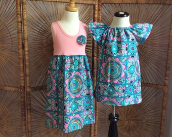 SiSTER SET ....girls tank style dress with coordinating flutter sleeve dress In Amy Butler fabric...sizes 6 months - 8 years