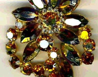 D&E aka Juliana TOPAZ Aurora Borealis Brooch   Item;14740