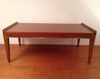 vintage cavalier corp mid century modern coffee table walnut w chrome trim retro
