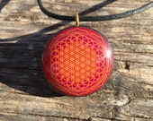 Flower of Life - Sacred Geometry - Orgone/Orgonite Tesla Pendant- EMF Blocker - Chakra Balancing - FREE Necklace - Hand Mad