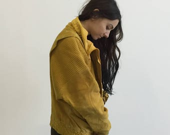 Vintage 80s Mustard Colored Suede Jacket - Leather and Knit Ribbed- Oversized Collar - Size Medium M