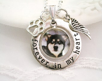 Pet Memory Necklace, Forever in My Heart Charm Necklace Pet Memory Charm Photo Charm Necklace Sympathy Jewelry Gift for Dog Memory Cat Charm