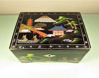 Asian Jewelry Music Box - Vintage Black Abalone Pagoda Geisha Pink
