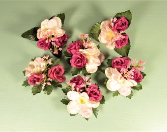 Pink Silk Flowers - Vintage Corsage Craft Supply