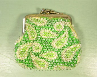 Green Bead Coin Purse - Vintage Paisley Kiss Lock